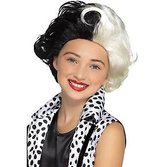 Evil Madame Wig Black & White Kids, Girls Fancy Dress, One Size