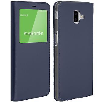 Vista elegante ventana tirón caso Samsung Galaxy J6 Plus, delgada de la cubierta - azul marino