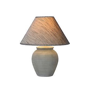 Lucide Ramzi Cottage Runde Keramik grau Tischlampe