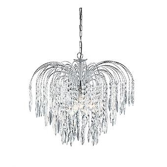Waterfall Chrome 5 Light Ceiling Chandelier With Crystal Decoration - Searchlight 4175-5