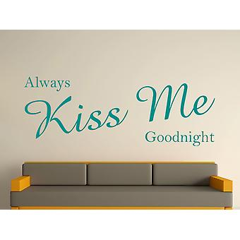 Baiser toujours moi bonne nuit Wall Art autocollants - Aqua Vert