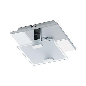 Eglo - Vicaro enkelt lys LED Semi Flush taket eller veggen montering i polert krom og hvit Glass Finish EG93311