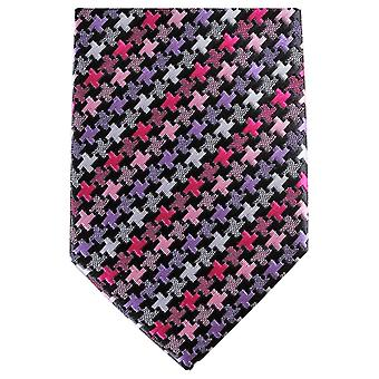 Knightsbridge Neckwear géométrique Skinny Tie Polyester - rose/mauve