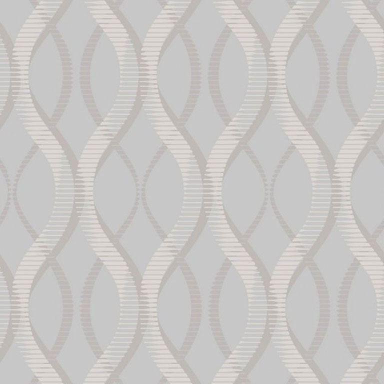 Modern Geometric Wallpaper Uptown Embossed Vinyl Textured Glitter Grey Silver