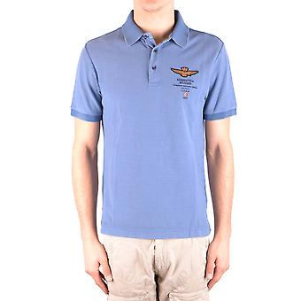 Aeronautica Militare Ezbc047028 Men's Light Blu/green Cotton Polo Shirt