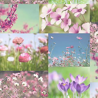 April Wallpaper Heather Pink Floral Bloemen Collage foto's luxe Holden