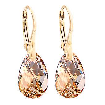 16mm gouden schaduw kristallen van Swarovski Pear oorbellen