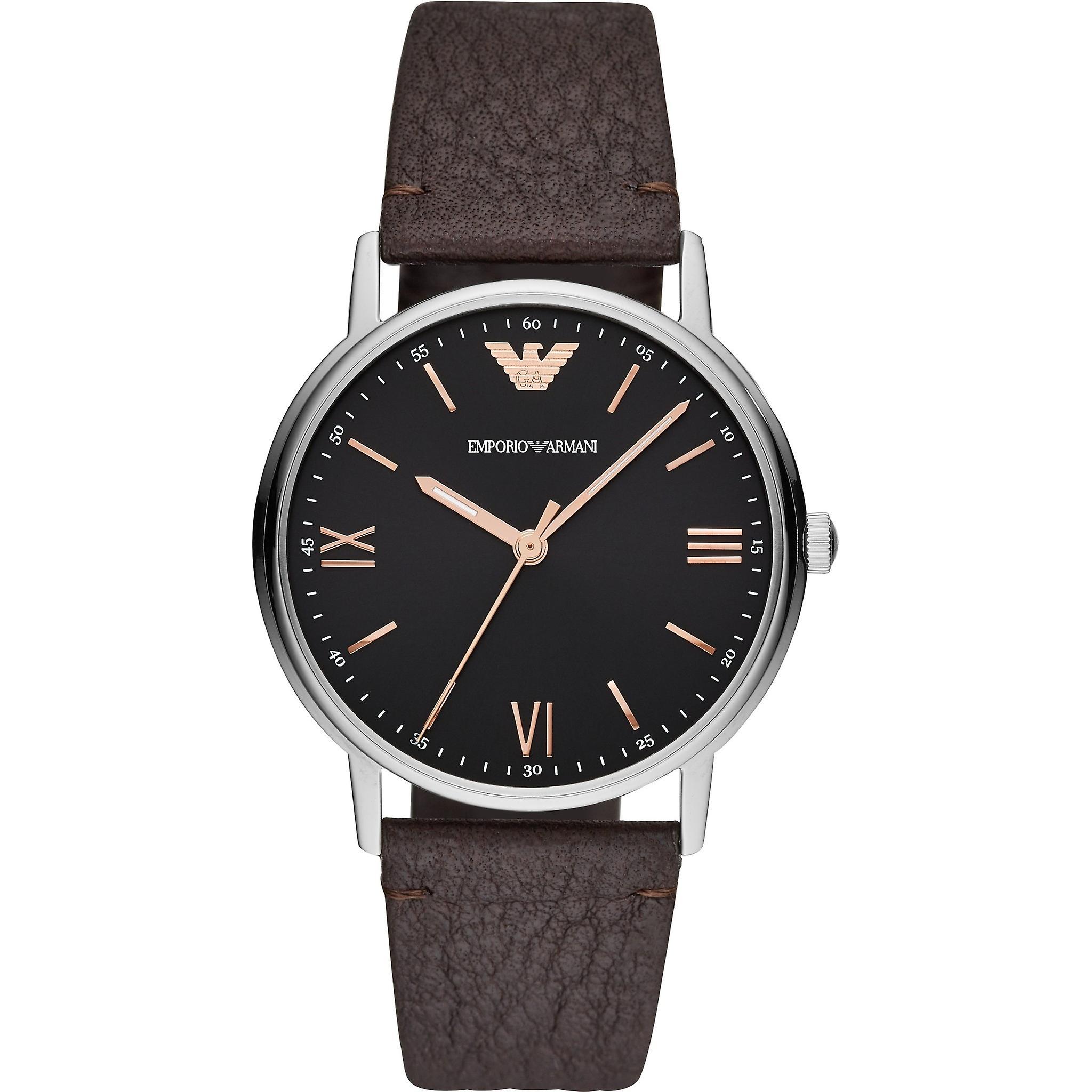 Emporio Armani Ar11153 Black Dial Brown Leather Strap Men's Watch