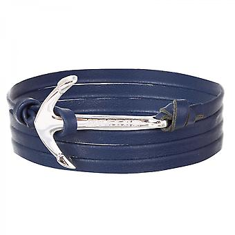 Rope Mosley sølv polert Anchor/blå skinn armbånd HLB-02SRP-L08