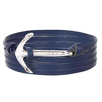 Holler Mosley plata pulido ancla/azul pulsera de cuero HLB-02SRP-L08