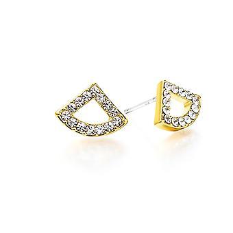 Kaytie Wu Gold Plated Fan Earrings With Swarovski Crystals 28050