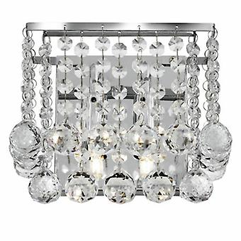 2 ljus inomhus Square Wall Light krom med kristaller