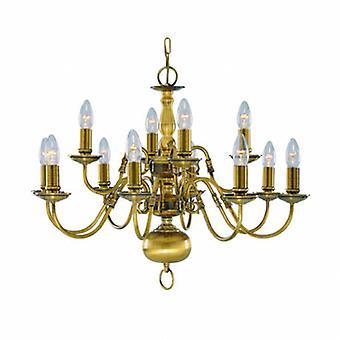 12 luz lustre de bronze antigo acabamento