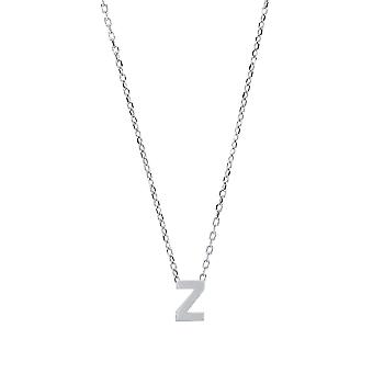 Jewelco London Ladies Rhodium Plated Sterling Silver Letter Z Initial Pendant Necklace