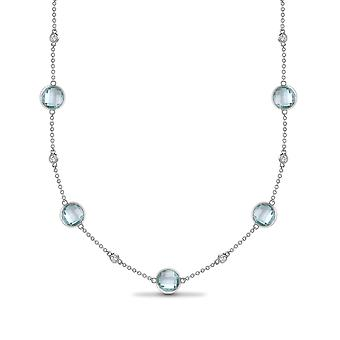 Jewelco London 18ct White Gold Rub Over Set 0.07ct Diamond and Blue 5.75ct Topaz By The Inch Bubble Eternity Necklace