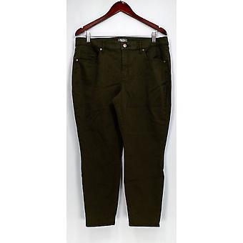 Martha Stewart Petit Pantalon Peached Twill 5-Pocket Ankle Pants Green A303223