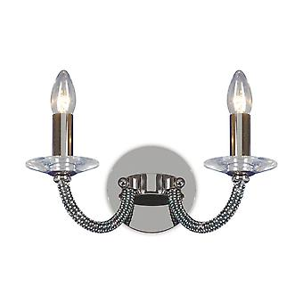 Diyas Elena wand lamp schakelde 2 licht zwart chroom/kristal