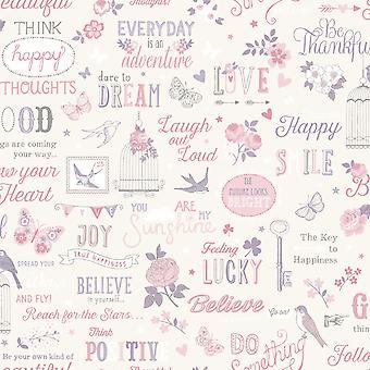 Rasch Inspirerende Quotes Wallpaper Floral Birds Metallic Cream Duck Egg Pink