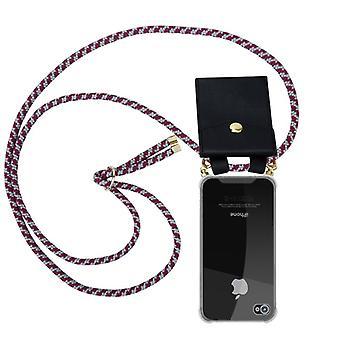 Cadorabo telefonkæde sag til Apple iPhone 4/iPhone 4S sag Cover-halskæde skuldre sag lavet af silikone med ledning band ledning og flytbare etui-beskyttende etui Cover