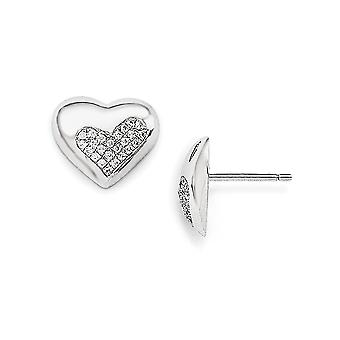 925 Sterling Silver Pave Rhodium plated and CZ Cubic Zirconia Simulated Diamond Love Heart Post Earrings Jewelry Gifts f