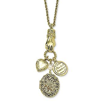 Fancy Lobster Closure Brass tone Locket and Charms 30 Inch Necklace Jewelry Gifts for Women