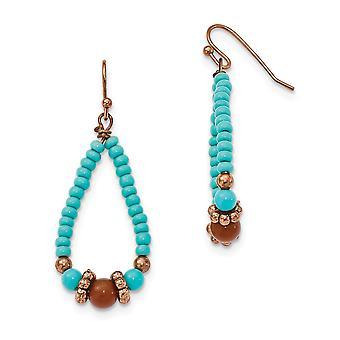 Shepherd hook Copper tone Aqua and Brown Beads Teardrop Dangle Earrings Jewelry Gifts for Women