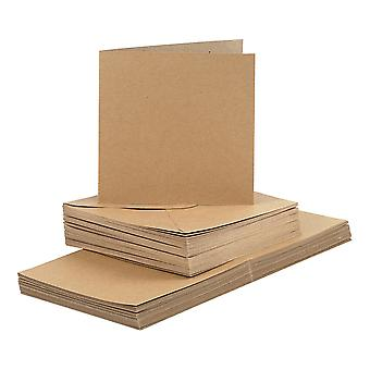 50 Natural 15cm Square Cards and Envelopes for Card Making Crafts