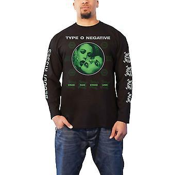 Type O Negative T Shirt Crude Gears Band Logo Official Mens Black Long Sleeve