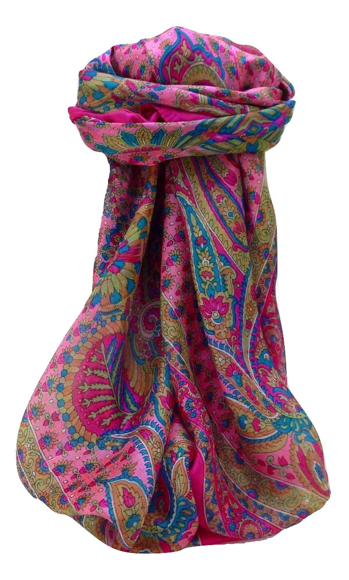 Mulberry Silk Traditional Square Scarf Osh Pink by Pashmina & Silk