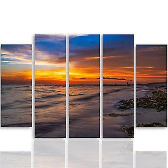Cinque parti immagine su tela, Pentaptych, tipo B, tramonto sulla spiaggia 3