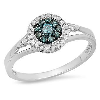 Dazzlingrock Collection 0.30 Carat (ctw) Sterling Silver Round White & Blue Diamond Engagement Ring 1/3 CT