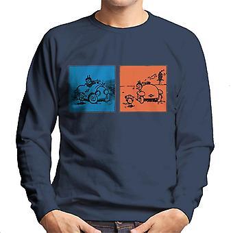 Krazy Kat blå orange panel mænd ' s sweatshirt