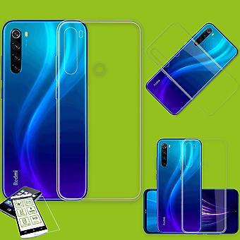 Xiaomi Redmi Huomautus 8 / Huomautus 8 2021 Silikonikotelo TPU Läpinäkyvä + 0,26 H9 lasikotelon kansi
