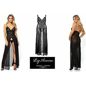 Been Avenue lingerie [UK 8-14] Black Lace & mesh hoge gleuf Gown & bijpassende G-String