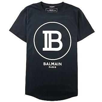 Balmain impreso Balmain Paris Logo Camiseta Negro/Blanco