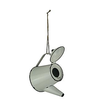 White Enamel Metal Rustic Tea Kettle Decorative Outdoor Hanging Birdhouse Small