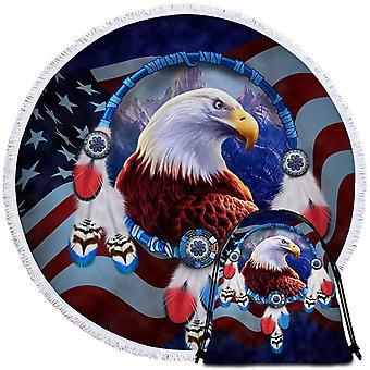Red White and Blue American Eagle Beach Towel