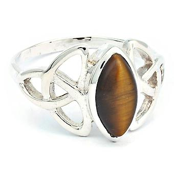 Ring Silver 925 Sterling Silver Tiger Eye Brown Stone (Nr: IRM 176)