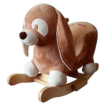 Le merle de lapin à bascule en peluche avec des patins de fonction de musique faits de bois de 18 mois