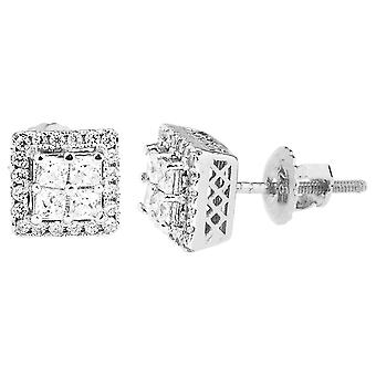 925 sterling silver bling zircon boucles d'oreilles - CLUSTER 8x8mm