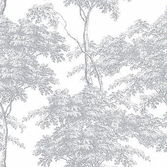 Eden Forest Trees Wallpaper Blanco / Plata Rasch 214307