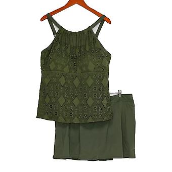 Denim & Co. Plus Swimsuit Beach Lace High Neck Top W/ Skirt Green A350350