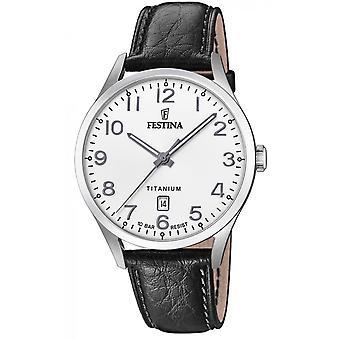 Se Festina F20467-1-TITANIUM Dateur Steel sølv læder armbånd sort sort dial hvide mænd
