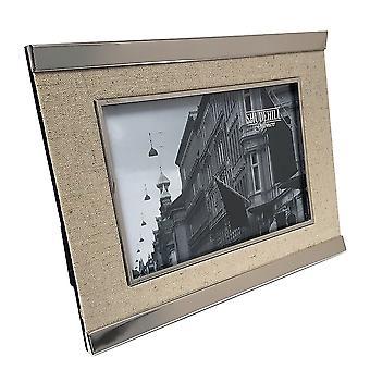 Shudehill Giftware Silver Plated & Linen 5 X 7 Photo Frame