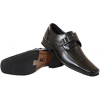 Voorkant schoenen Thatcham zwart leder slip op schoen