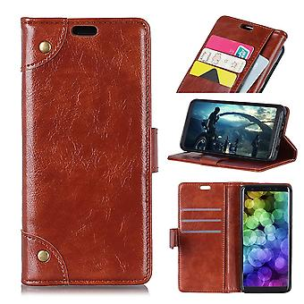For Samsung Galaxy S10 Plus Case Brown Nappa Texture PU Leather Wallet Cover