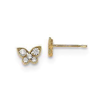 6.9 mm 14k מאדי K הילדים CZ מעוקב כנפיים יהלום פרפר מלאך כנפי הפוסט עגילים תכשיטים מתנות לנשים