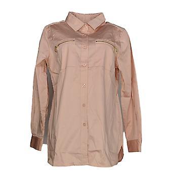 Belle by Kim Gravel Women's Top Shirt w/ Zipper Pockets Pink A296109
