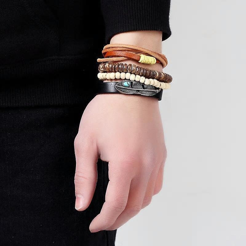 Brown & cream leather men's bead & twine mix bracelet