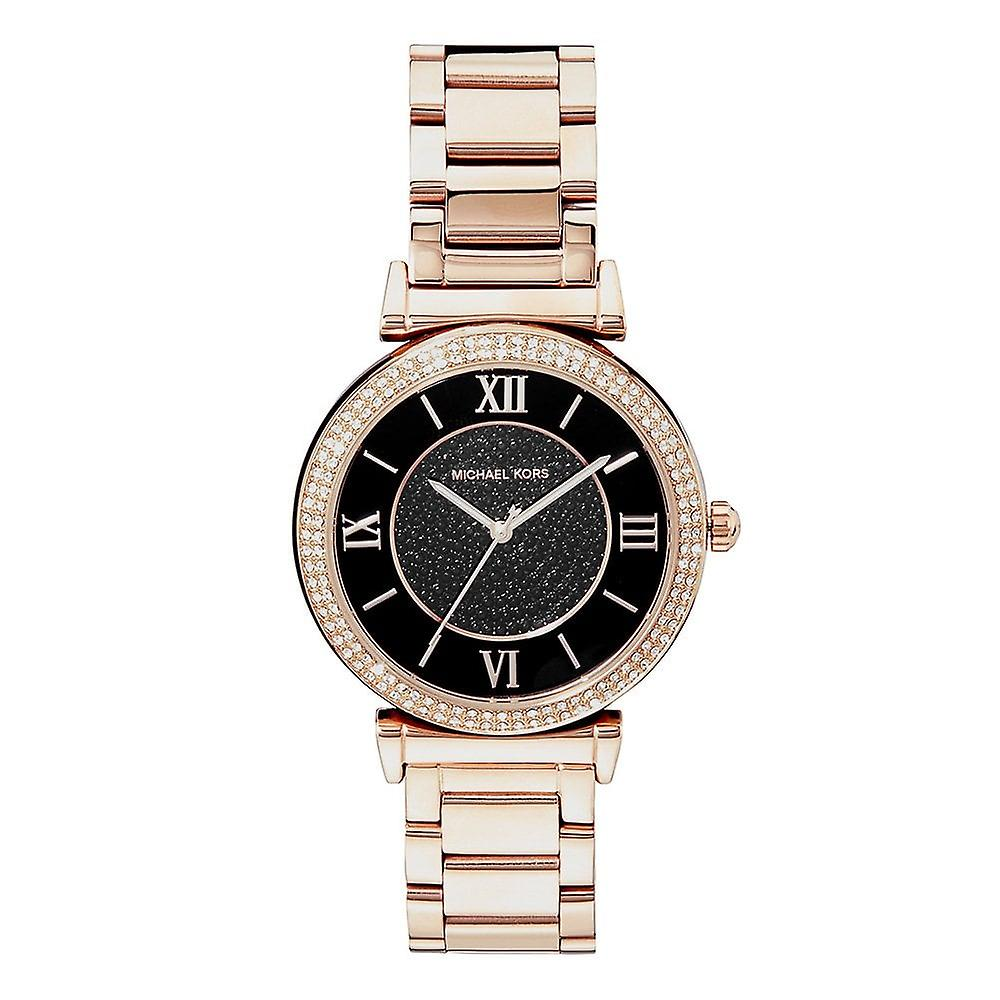 Michael Kors Watches Mk3356 Catlin Black And Rose Gold Ladies Watch